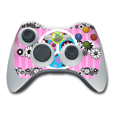 Xbox 360 Controller Skin - Peace Flowers Pink
