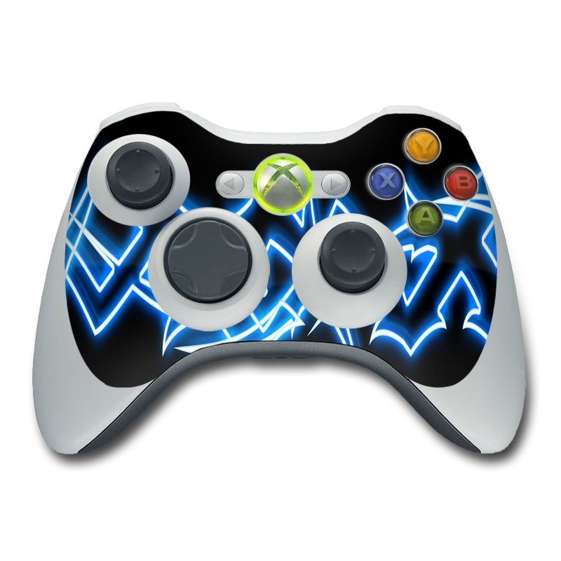 All Xbox 360 Controllers : Xbox controller skin neon blue barbs decalgirl