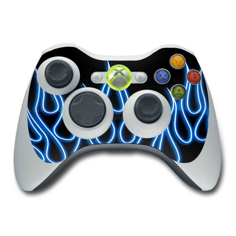 All Xbox 360 Controllers : Xbox controller skin blue neon flames decalgirl