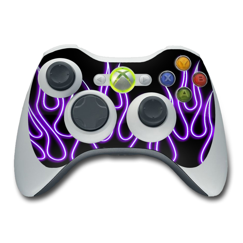 Xbox 360 Controller Skin - Purple Neon Flames | DecalGirl