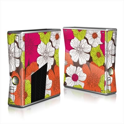 Xbox 360 S Skin - Brown Flowers