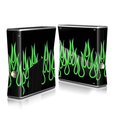 Xbox 360 S Skin - Green Neon Flames
