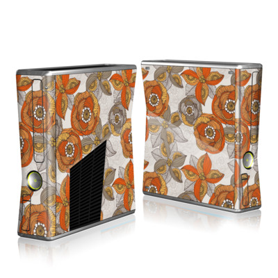 Xbox 360 S Skin - Orange and Grey Flowers