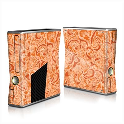 Xbox 360 S Skin - Paisley In Orange