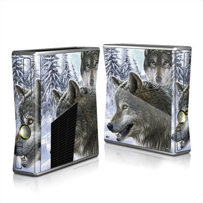 Xbox 360 S Skin - Snow Wolves