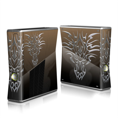 Xbox 360 S Skin - Tribal Dragon Chrome