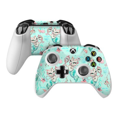 Microsoft Xbox One Controller Skin - Merkittens with Pearls Aqua