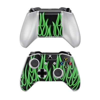 Microsoft Xbox One Controller Skin - Green Neon Flames