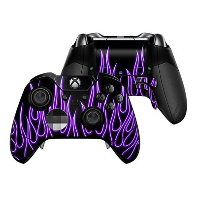 Microsoft Xbox One Elite Controller Skin - Purple Neon Flames