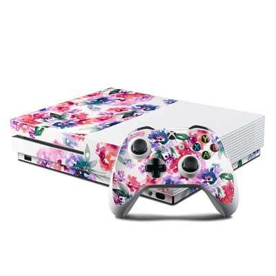 Microsoft Xbox One S Console and Controller Kit Skin - Blurred Flowers