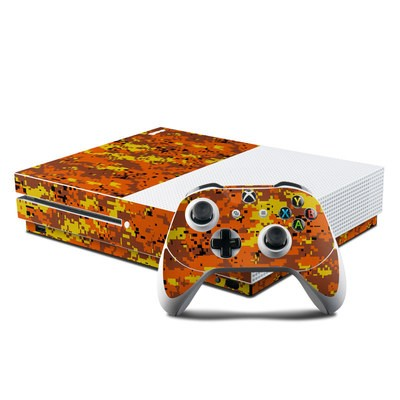 Microsoft Xbox One S Console and Controller Kit Skin - Digital Orange Camo