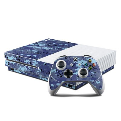 Microsoft Xbox One S Console and Controller Kit Skin - Digital Sky Camo