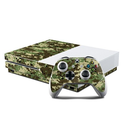 Microsoft Xbox One S Console and Controller Kit Skin - Digital Woodland Camo