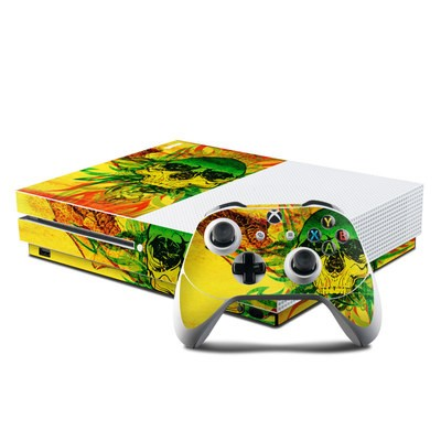 Microsoft Xbox One S Console and Controller Kit Skin - Hot Tribal Skull