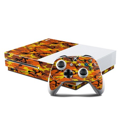 Microsoft Xbox One S Console and Controller Kit Skin - Orange Camo