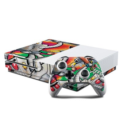 Microsoft Xbox One S Console and Controller Kit Skin - Robot Beatdown
