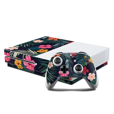 Microsoft Xbox One S Console and Controller Kit Skin - Tropical Hibiscus