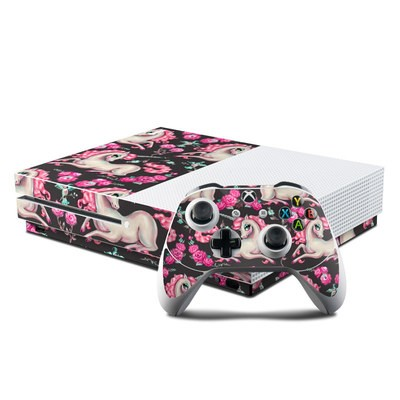 Microsoft Xbox One S Console and Controller Kit Skin - Unicorns and Roses