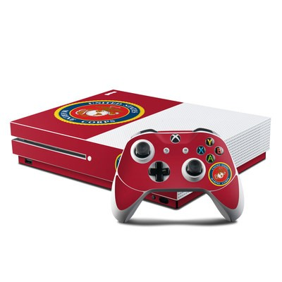 Microsoft Xbox One S Console and Controller Kit Skin - USMC Red