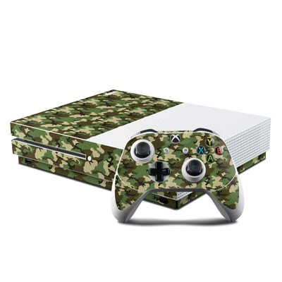 Microsoft Xbox One S Console and Controller Kit Skin - Woodland Camo